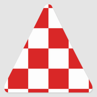 Checkered Large - White and Rosso Corsa Triangle Sticker