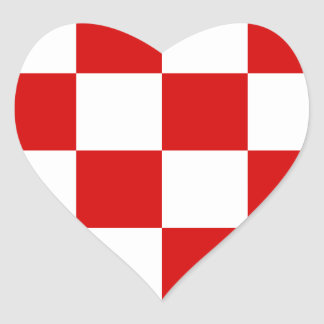 Checkered Large - White and Rosso Corsa Heart Stickers