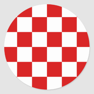 Checkered Large - White and Rosso Corsa Round Stickers
