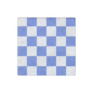 Checkered Large - White and Royal Blue Stone Magnet