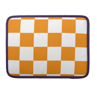 Checkered Large - White and Tangerine Sleeves For MacBook Pro