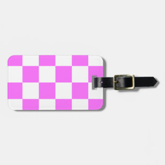 Checkered Large - White and Ultra Pink Bag Tags