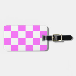 Checkered Large - White and Ultra Pink Luggage Tag