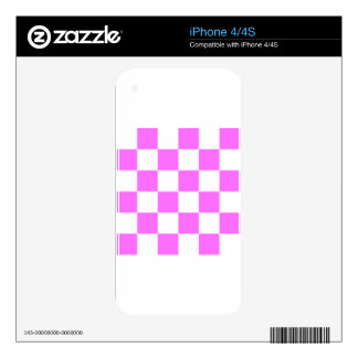 Checkered Large - White and Ultra Pink Skin For iPhone 4