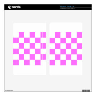 Checkered Large - White and Ultra Pink Skin For Kindle Fire