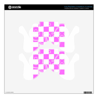 Checkered Large - White and Ultra Pink PS3 Controller Skin