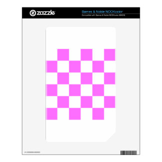 Checkered Large - White and Ultra Pink Skins For NOOK Color