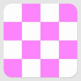 Checkered Large - White and Ultra Pink Square Stickers