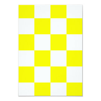 Checkered Large - White and Yellow 3.5x5 Paper Invitation Card