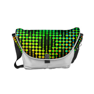Checkered Lattice Fence by Kenneth Yoncich Small Messenger Bag