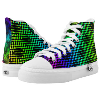 Checkered Lattice Fence High-Top Sneakers