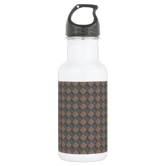 Checkered Leather Stainless Steel Water Bottle