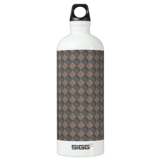 Checkered Leather Water Bottle
