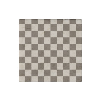 Checkered - Light Brown and Dark Brown Stone Magnet