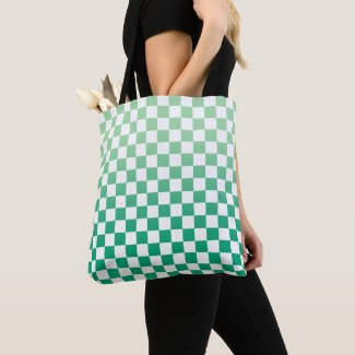 Checkered Light to Dark Green and White Pattern Tote Bag