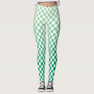 Checkered Light to Dark Green Gradient Pattern Leggings