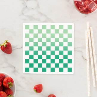 Checkered Light to Dark Green Ombré Pattern Napkins
