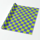 Checkered Lime Green and Blue Wrapping Paper