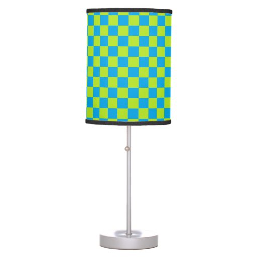 checkered lime green and turquoise table lamp zazzle. Black Bedroom Furniture Sets. Home Design Ideas