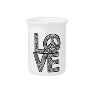 Checkered LOVE=Peace Beverage Pitcher