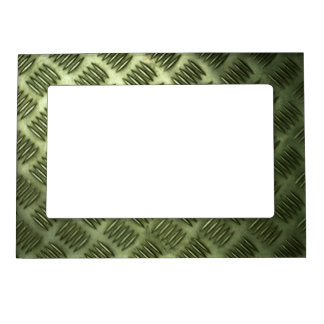Checkered Metal Steel Flooring Diagonal Texture Magnetic Picture Frame