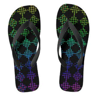 Checkered Moire Flip Flops