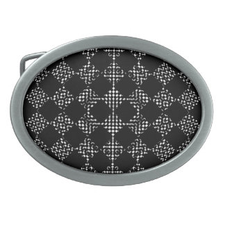 Checkered Moire Oval Belt Buckle