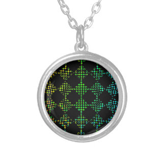 Checkered Moire Round Pendant Necklace