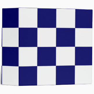 Checkered Navy and White 3 Ring Binder