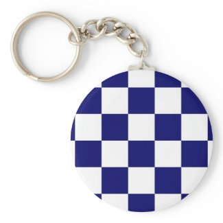 Checkered Navy and White Basic Round Button Keychain
