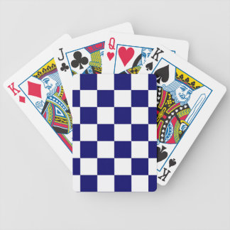 Checkered Navy and White Bicycle Playing Cards