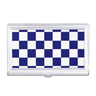 Checkered Navy and White Business Card Holder