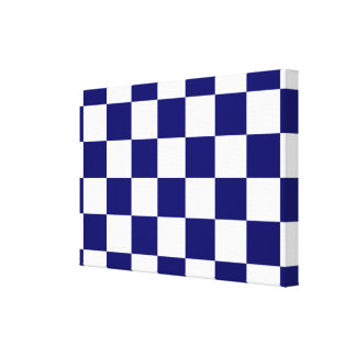Checkered Navy and White Canvas Print