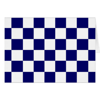 Checkered Navy and White Card