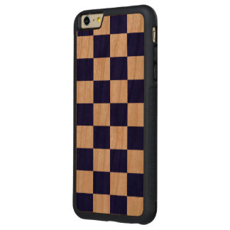 Checkered Navy and White Carved® Cherry iPhone 6 Plus Bumper Case