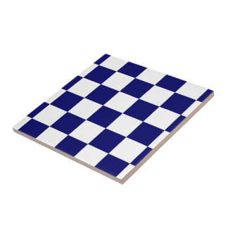 Checkered Navy and White Ceramic Tile