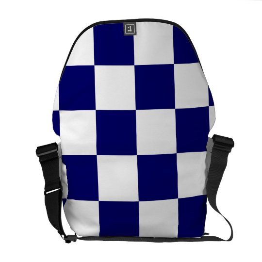 Checkered Navy and White Courier Bag