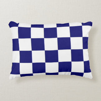 Checkered Navy and White Decorative Pillow