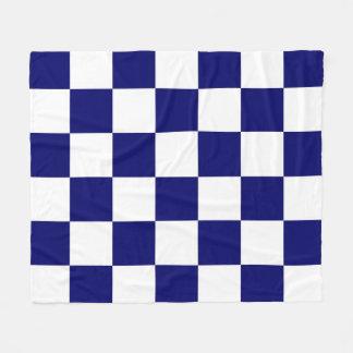 Checkered Navy and White Fleece Blanket