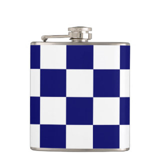 Checkered Navy and White Hip Flask