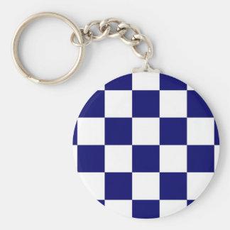 Checkered Navy and White Keychain