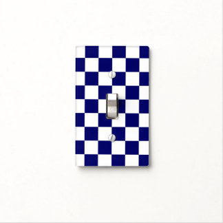 Checkered Navy and White Light Switch Cover