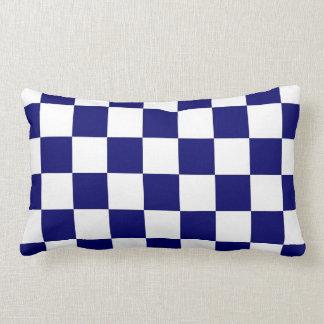 Checkered Navy and White Lumbar Pillow