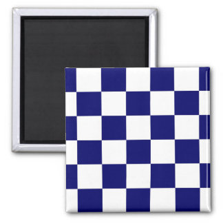 Checkered Navy and White Magnet