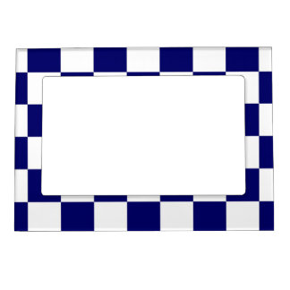 Checkered Navy and White Magnetic Picture Frames