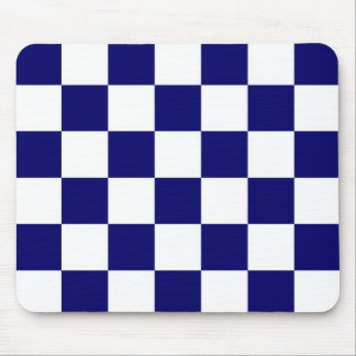 Checkered Navy and White Mouse Pad