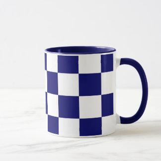 Checkered Navy and White Mug