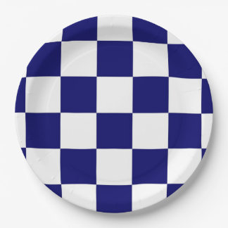 Checkered Navy and White Paper Plate
