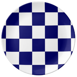 Checkered Navy and White Plate