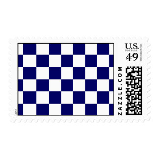 Checkered Navy and White Postage Stamp